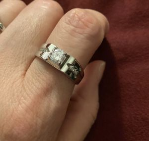 New 925 solid silver CZ wedding engagement rings two sizes 10 and 11 for man for Sale in Richmond, VA