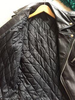 Men's black leather motorcycle jacket Thumbnail