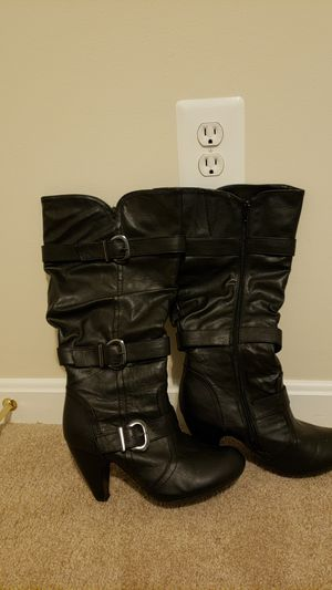 Black leather boots for Sale in Manassas, VA