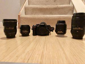Nikon d3200 + 4 lenses for Sale in Reston, VA