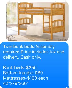 Photo Twin bunk beds. 3 colors to choose from. Bunk beds come in a box. Assembly not included in price. Price includes tax and delivery. Cash only. Colo