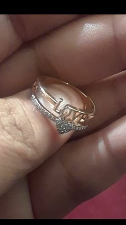 18 karat gold filled love and hearts sapphire ring size 7 Thumbnail