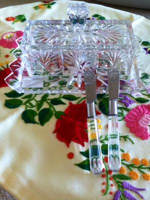Lovely Chrystal butter dish with 2 knifes / New for Sale in Alexandria, VA