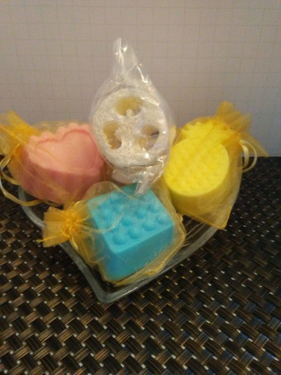 Homemade Scented Soap Set in Etched Glass Dish!!!