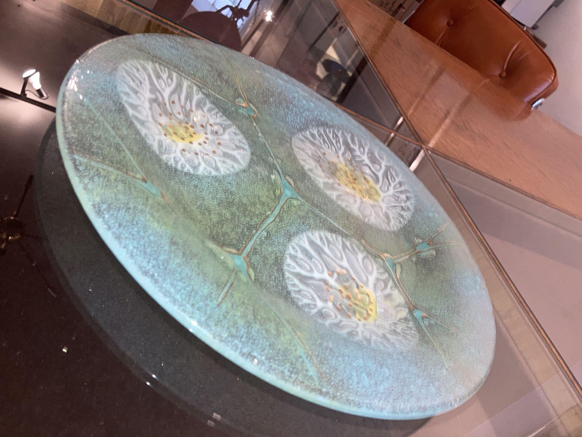 Mint Green Design Glass Plate