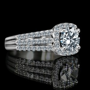 Radiant Round 2 CT. Split Shank Paved Square Halo Simulated Diamond - Diamond Veneer Sterling Silver Engagement/ Wedding Ring. 635R4009 for Sale in San Francisco, CA