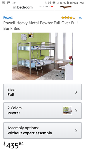 NEW Pewter Full over Full Bunk bed for Sale in Aspen Hill, MD