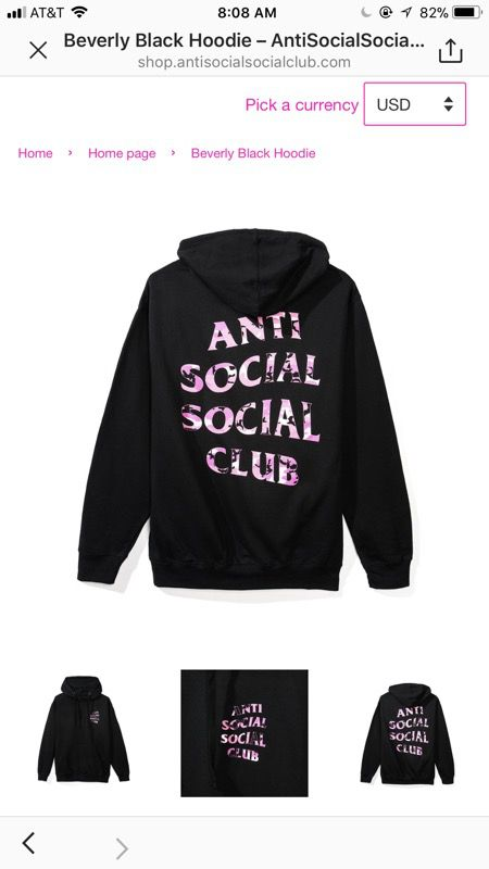 Anti Social Club Beverly Black Hoodie Size Large Clothing Shoes In Woodinville WA