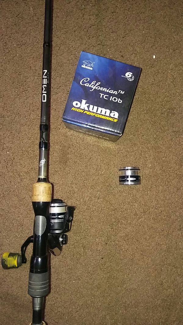 13fishing omen black spinning rod combo with okuma californian reel for  Sale in El Cajon, CA - OfferUp