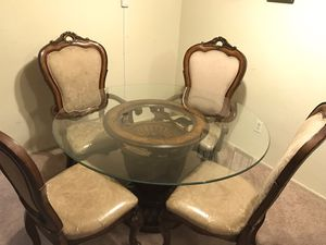 Solid wood dining table base with glass top for Sale in Los Angeles, CA