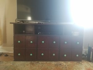 Solid wood, mahogany finish TV stand with storage for Sale in Arlington, VA