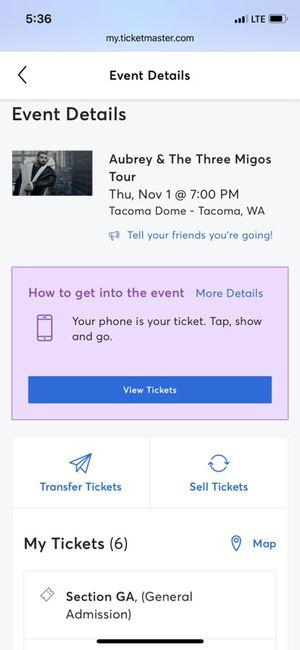 6 Drake Migos GA Floor Tickets for Sale in Kent, WA