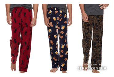 New Men's Patterned Microfleece Pants Size M L XL Thumbnail