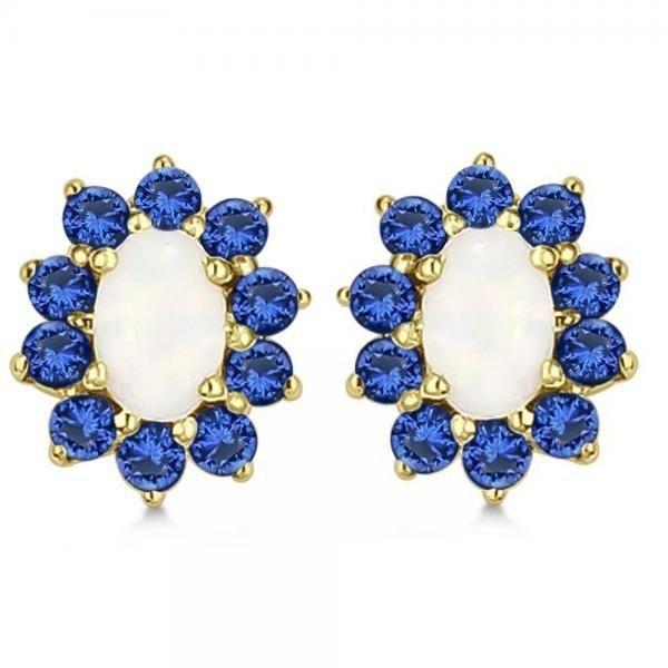 2.64 Ct Oval Cut Opal & Blue Sapphire Stud Earrings 14K Yellow Gold