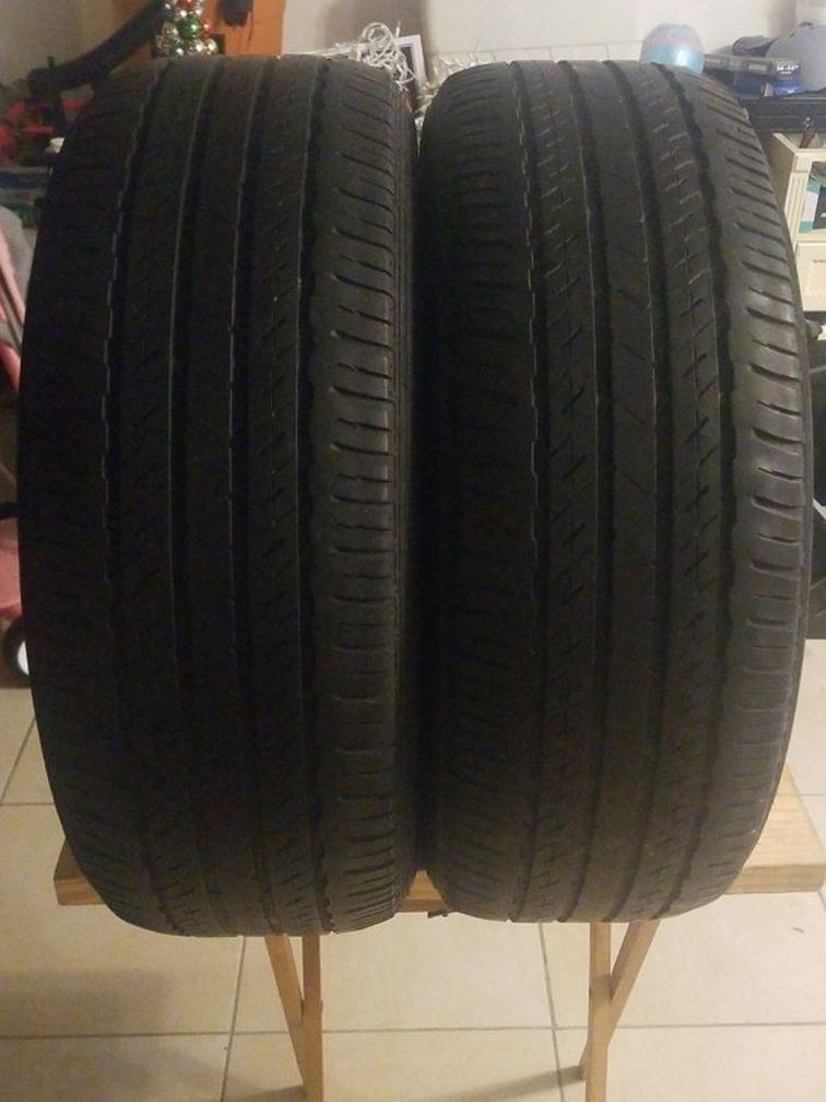 Pair 2 Tires 215-55-17 Brigstone 80%tread