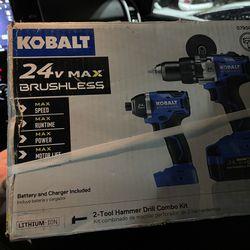 NEW 24v Kobalt Hammer Drill & Impact Driver Cordless 4ah Battery Thumbnail