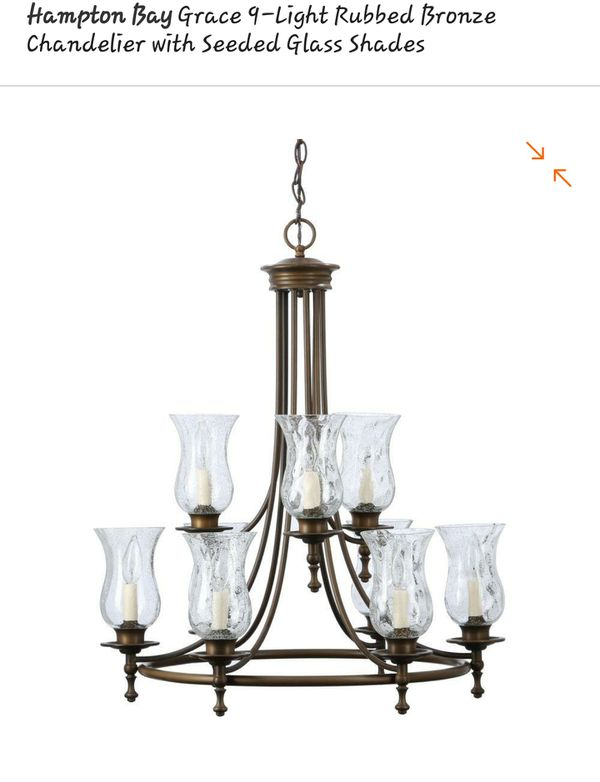 Grace 9 Light Rubbed Bronze Chandelier With Seeded Glass Shades For In Houston Tx Offerup