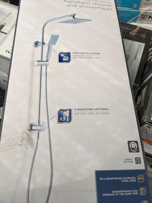 Photo New Glacier Bay Modern Wall Bar Shower Kit 1-Spray 8 in. Square Rain Shower Head with Hand Shower in Chrome Retails $140 with Taxes!!!