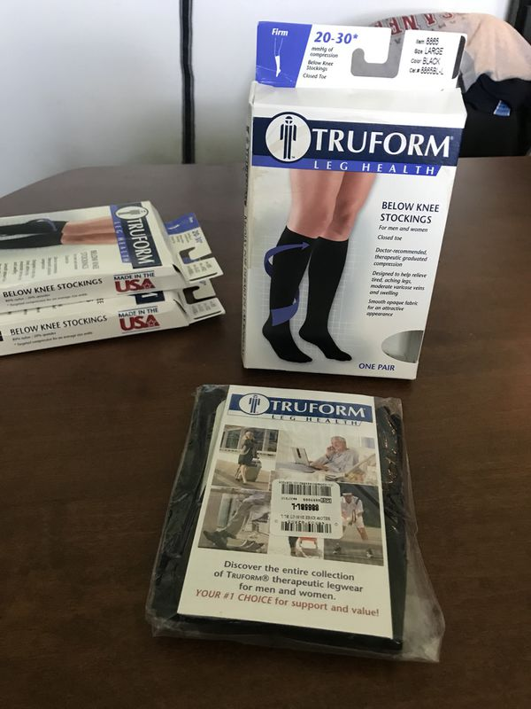 69b7f38d39f Truform 20-30 mmHg Below Knee Closed Toe Targeted Compression Stockings  Large Black one pair  8865