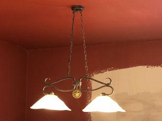 Wrought Iron billiard lights set of 2 Thumbnail