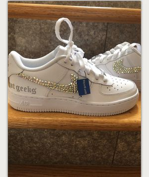 Photo Nike women air force 1 size 6.5 custom design swoosh brand new $200