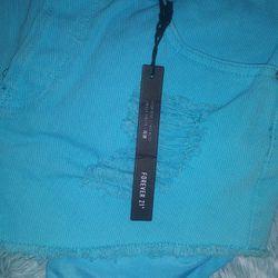 FOREVER 21 Blue Jean Shorts Size 29 Thumbnail