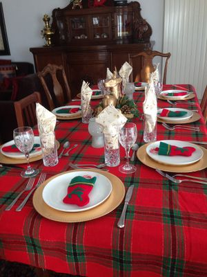 Christmas red tartan tablecloths and runners for Sale in Arlington, VA