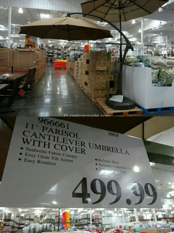 New Costco 11ft Offset Umbrella With Base