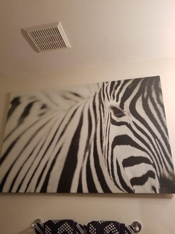 Zebra artwork animal print wall art Extra large black white wall art ...