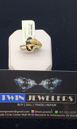 10kt women's gold ring with onyx/sapphire ring available on special price Thumbnail
