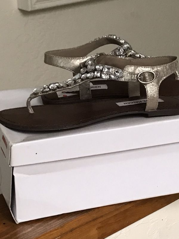 6b8a507e28e8e4 Brand new Steve Madden Groom rhinestone silver sandals size 8 for ...