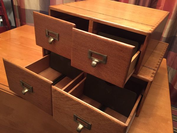 Antique file cabinet (stackable) index card library 2 drawer solid oak  (Furniture) in Rockford, MI - OfferUp - Antique File Cabinet (stackable) Index Card Library 2 Drawer Solid