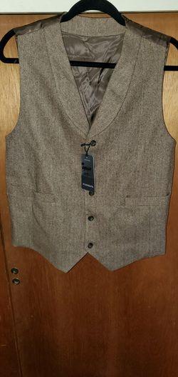 Mens bespoke tweed vest in vintage brown 40R brand new Thumbnail