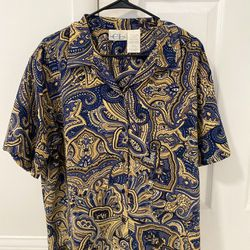 Vintage Paisley Button Up (Cricket Lame) 100% Polyester Thumbnail