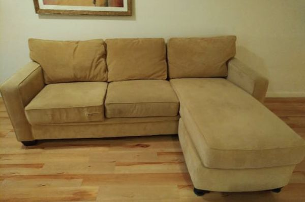 Beautiful Tan L Shaped Suede Couch