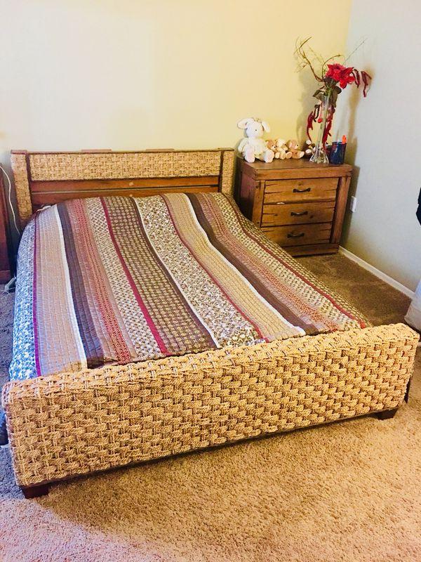 Wicker bed frame   queen for Sale in Cincinnati, OH   OfferUp