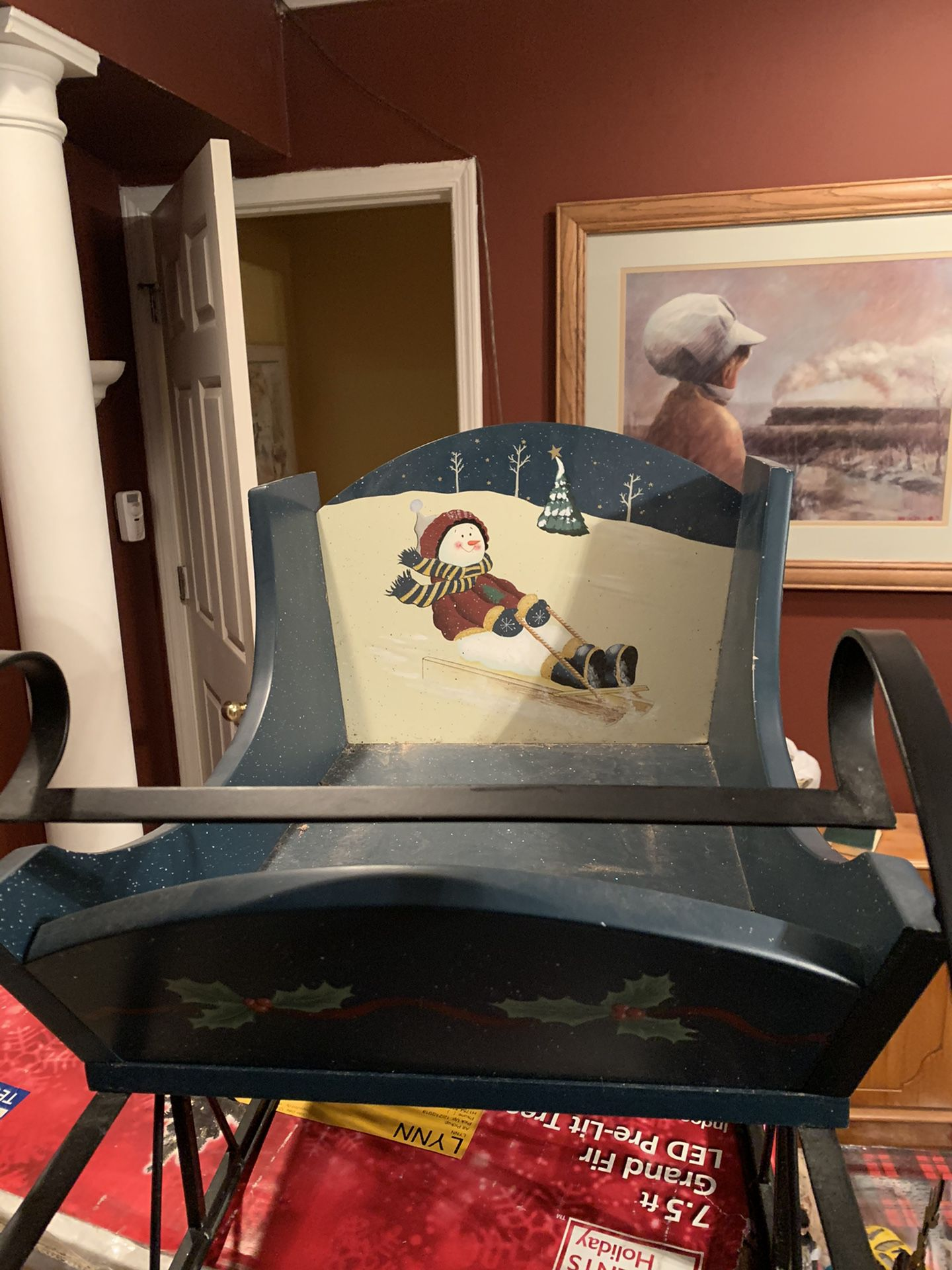 Christmas Sleigh Wood And Metal Antique
