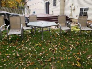 Set patio 6 chairs, table, umbrella for Sale in Burke, VA
