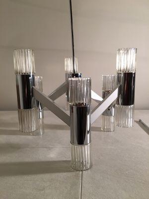Mid-Century Modern Chrome & Glass Chandelier for Sale in Rockville, MD