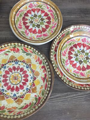 "New Pottery Barn Italian Mosaic Melamine 4-Dinner Plates (11"") and 4-Salad Plates (9"") for Sale in Washington, DC"