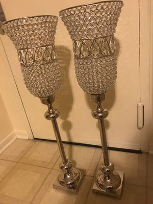 "Set of 2 large 37"" tall silver crystal candle holder click on my profile picture to check out my other listings on this page message me if you intere for Sale in Gaithersburg, MD"