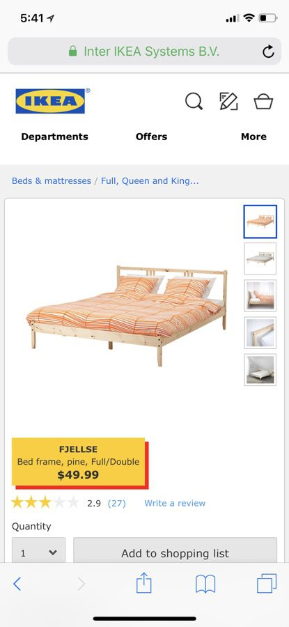 Fjellse Bed Frame Pine Full Double Ikea For Sale In Kyle Tx