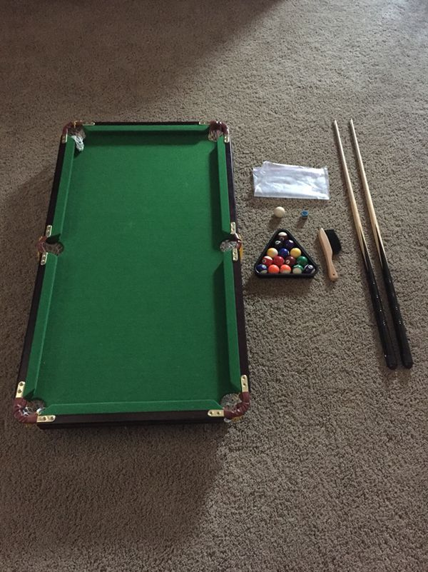 Mini Pool Table Collapsible Legs And In Great Condition Comes With All The Sticks