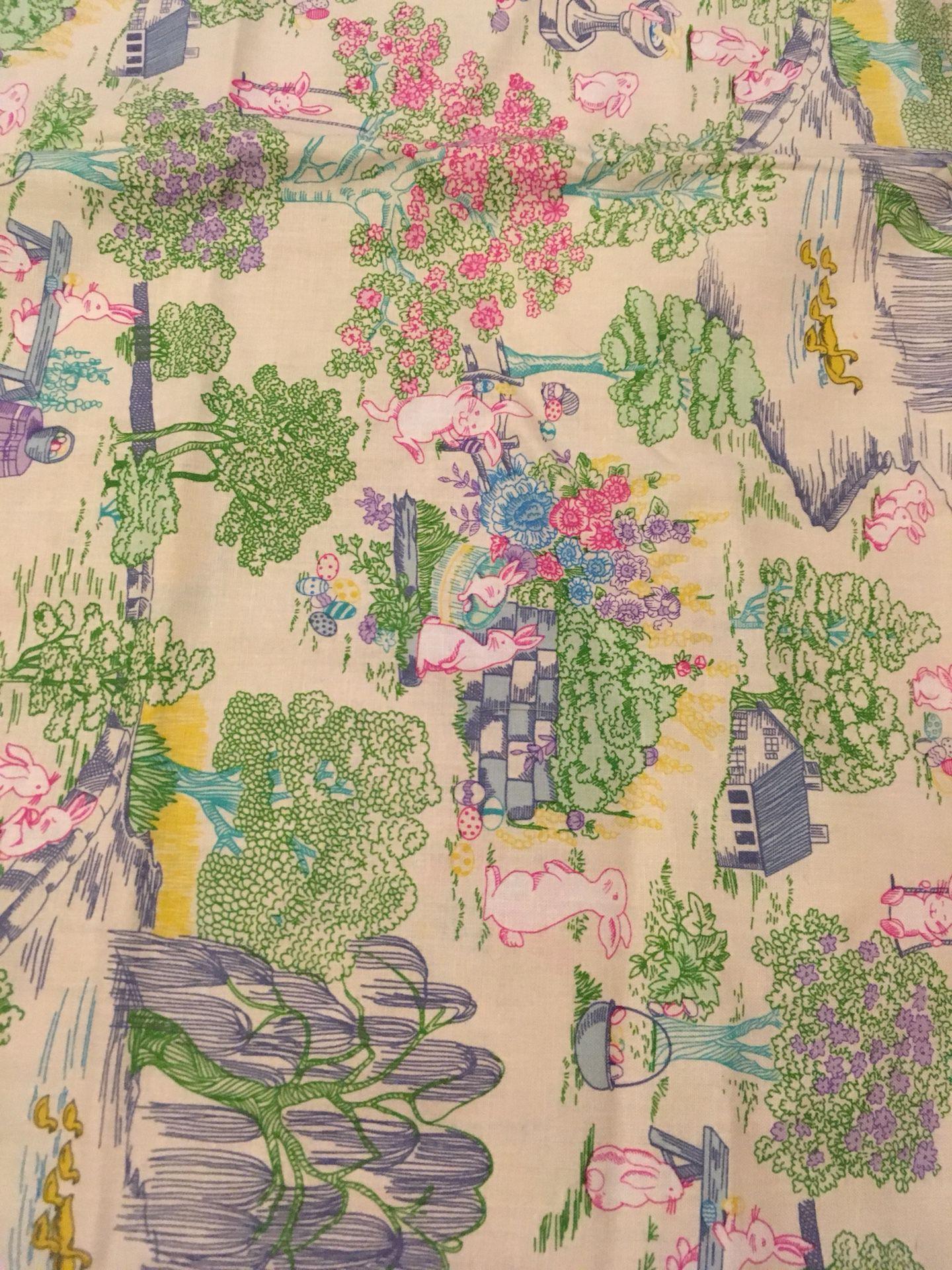 Handmade pillow case Easter bunny scene