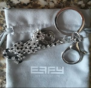 EFFY Silvertone Rhinestone & Black Enamel Keyring for Sale in Severn, MD