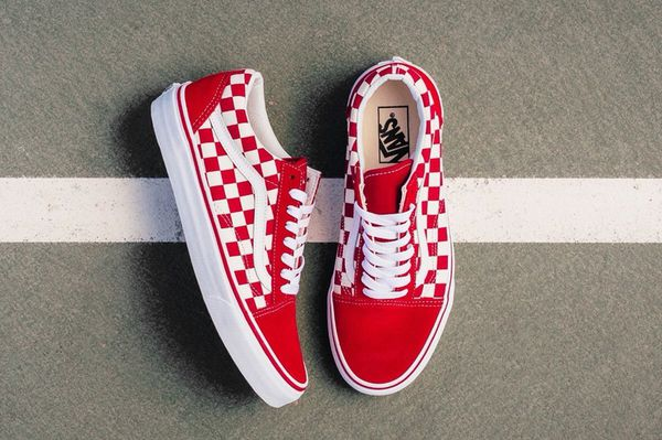 vans old skool red and white checkerboard