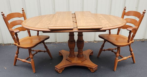 Vintage Maple Kitchen Dining Table Set With 2 Leaves 2 Chairs For Sale In Chesapeake Va Offerup