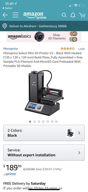 Monoprice select mini 3D printer V2 WITH hatchbox PLA And MicroSD Card and MicroSD adapter for Sale in Gaithersburg, MD