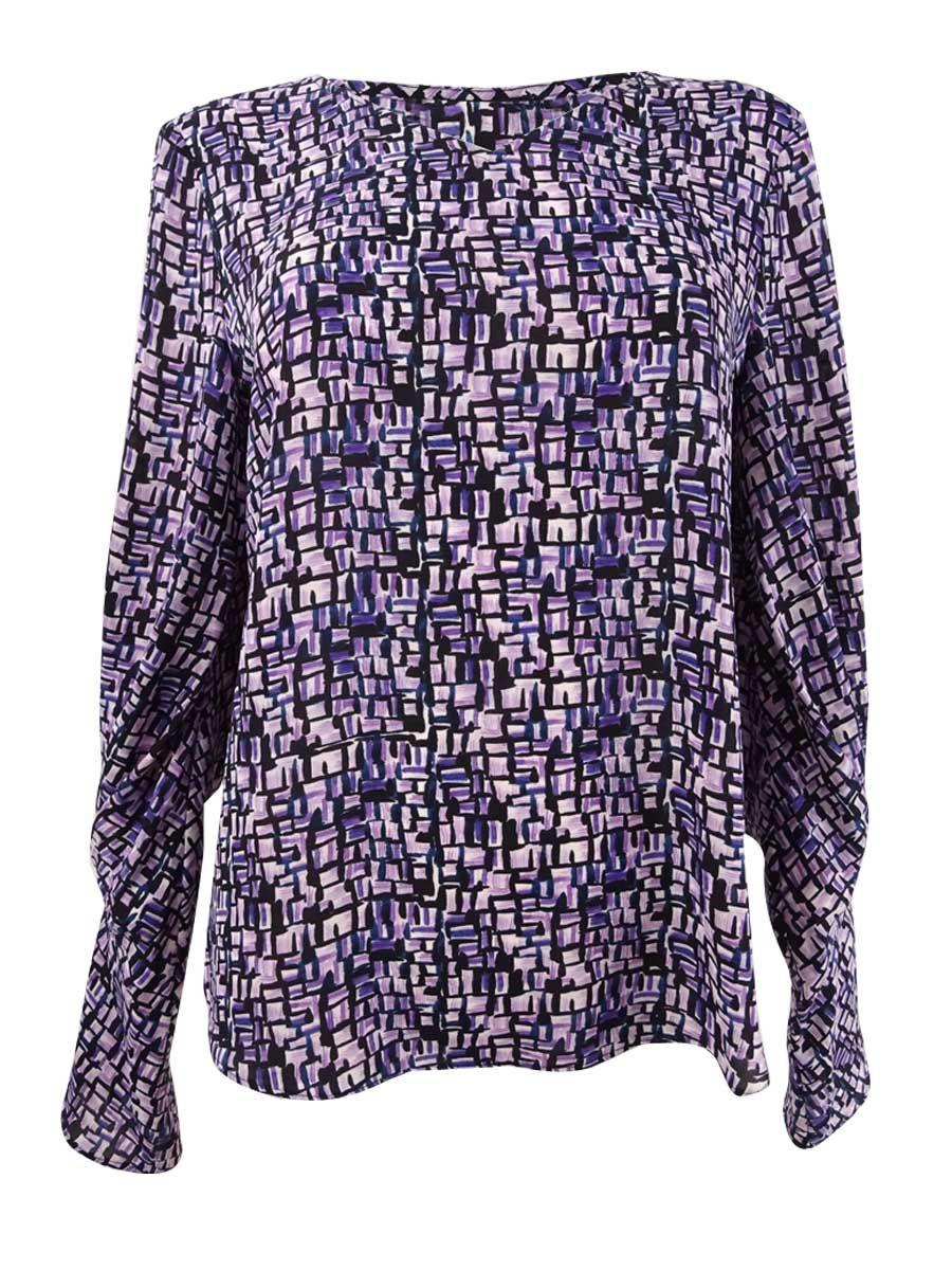 DKNY Women's Printed Pleated-Sleeve Blouse (S, Purple Multi)