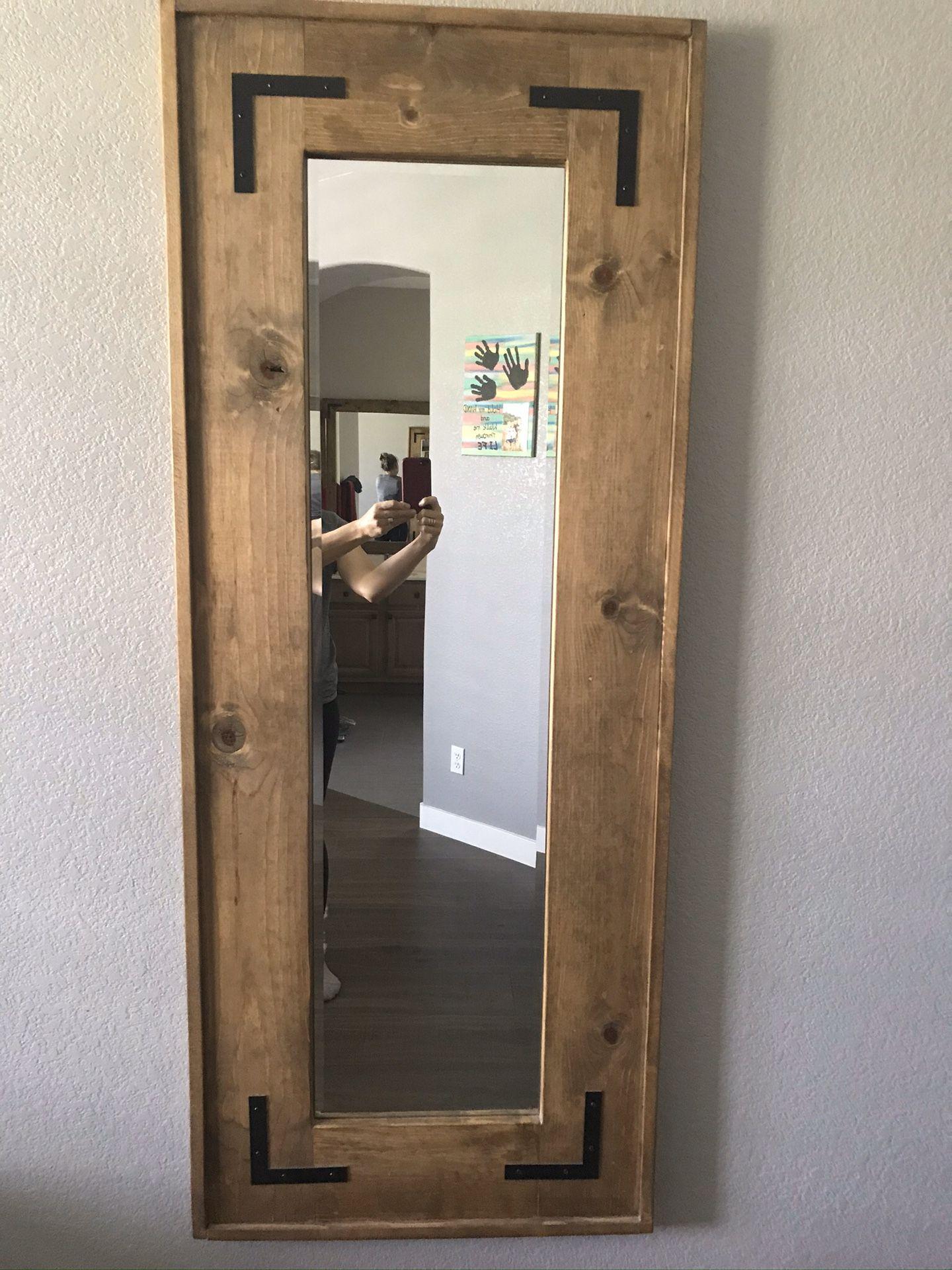Handmade wood mirror